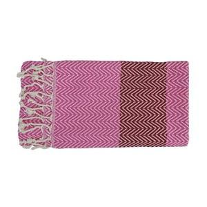 Růžová ručně tkaná osuška z prémiové bavlny Homemania Damla Hammam,100x180 cm