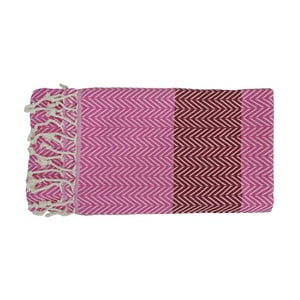 Prosop țesut manual din bumbac premium  Damla, 100 x 80 cm, roz