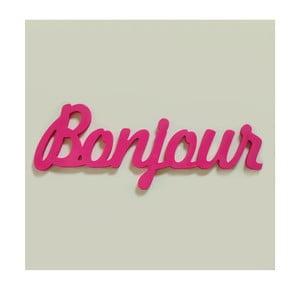 Dekorativní nápis Bonjour, růžový