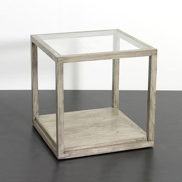 Šedý odkládací stolek z lakovaného dřeva Thai Natura Delirium, 60 x 60 cm