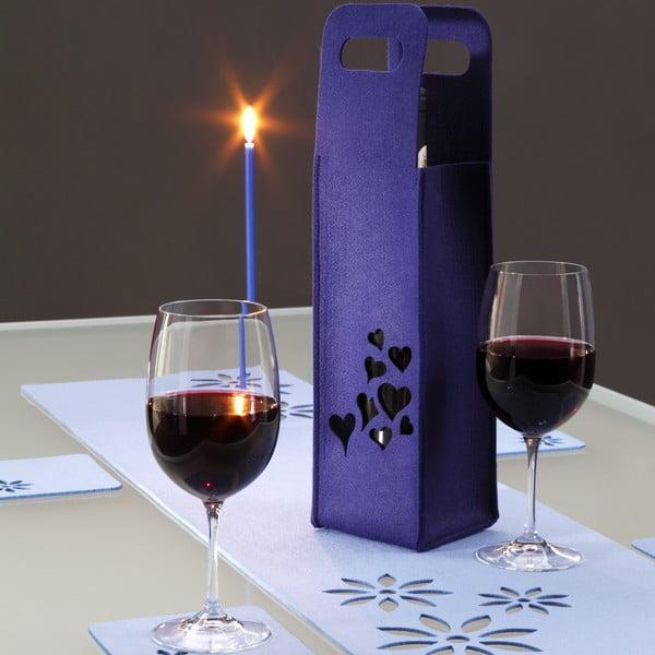 Plstěný obal na víno se srdíčky, lila