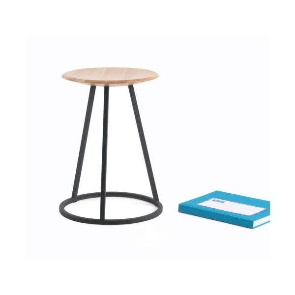 Stolička s dubovou deskou a šedou kovovou konstrukcí HARTÔ Gustave, výška 45cm