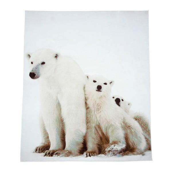 Bílá deka J-Line Bear, 130x160 cm
