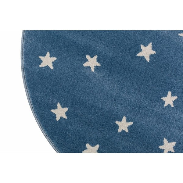 Modrý kulatý koberec s hvězdami KICOTI Azure Stars, ø 133 cm