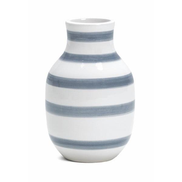 Svetlomodro-biela kameninová váza Kähler Design Omaggio, výška 12,5 cm