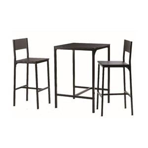Barový stolek se dvěma židlemi Black Set