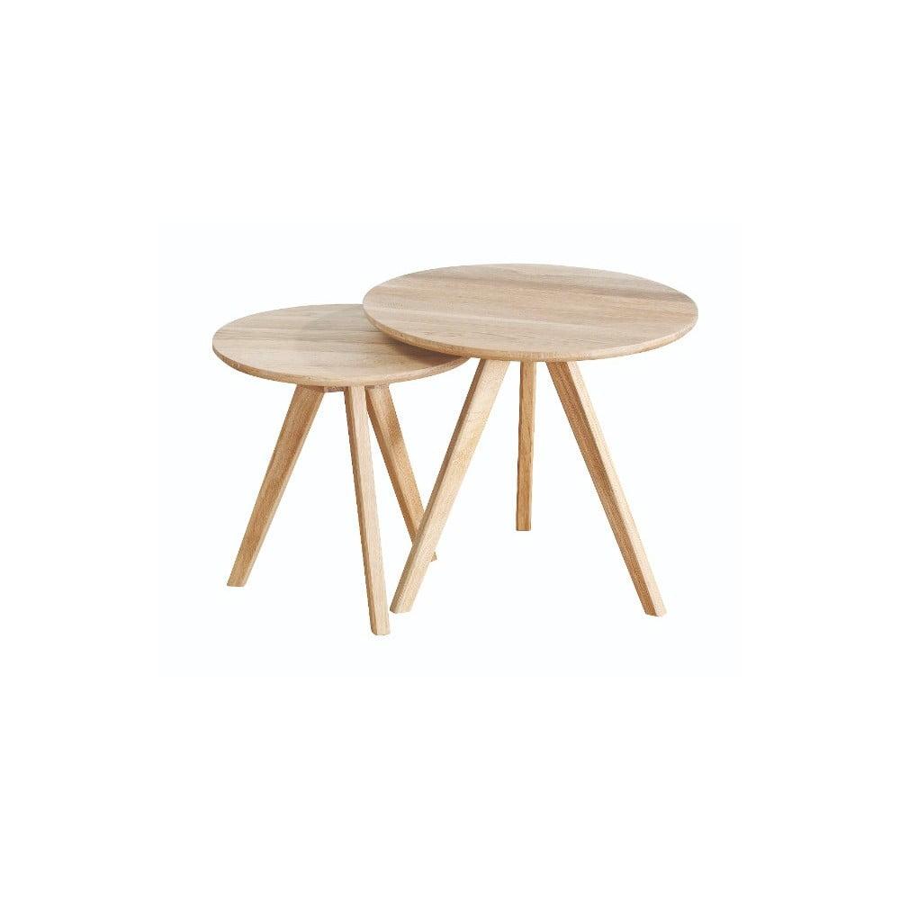 Sada 2 odkládacích stolků z běleného dubového dřeva Folke Yumi