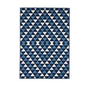 Modrý vysoce odolný koberec Webtappeti Triangles,133x190cm
