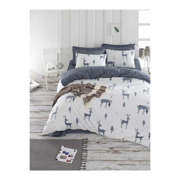 Lenjerie de pat cu cearșaf din bumbac ranforce, pentru pat dublu Mijolnir GoodTime White, 200 x 220 cm