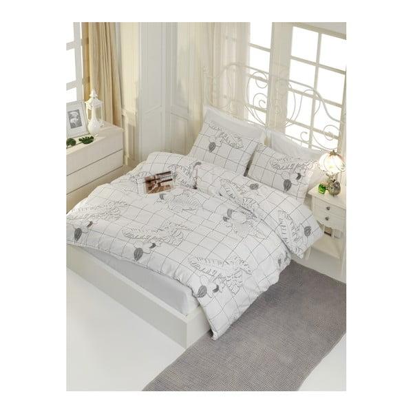 Lenjerie de pat din bumbac ranforce pentru pat de 1 persoană Mijolnir Cecile White, 140 x 200 cm