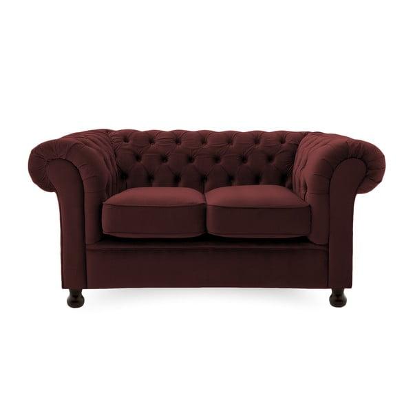 Bordowa sofa dwuosobowa Vivonita Chesterfield