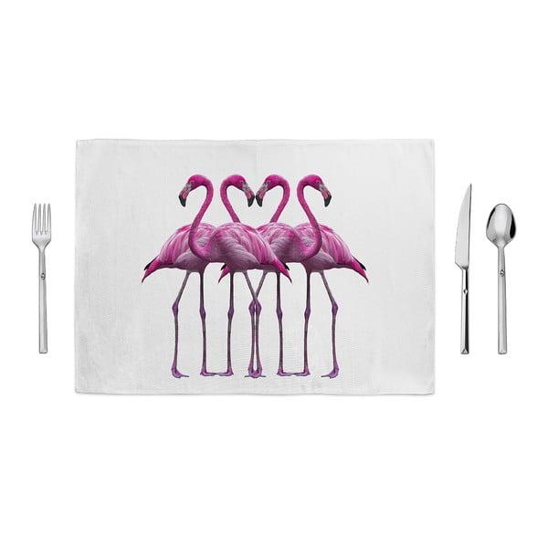 Růžovobílé prostírání Home de Bleu Flamingo Friends, 35x49cm