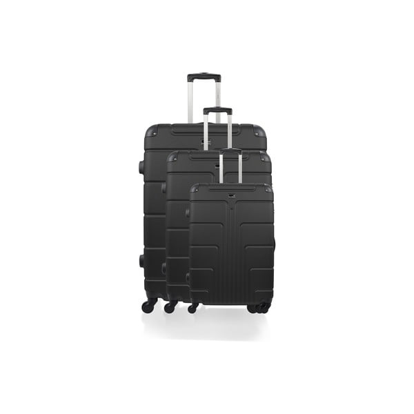 Sada 3 černých kufrů na kolečkách BlueStarOttawa