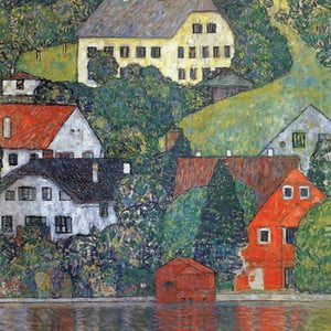 Reproducere tablou Gustav Klimt - Houses in Unterach am Attersee, 60 x 60 cm