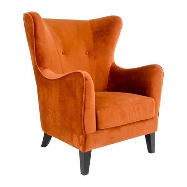 Pomarańczowy fotel pokryty aksamitem House Nordic Campo