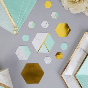 Sada 100 stolních dekorací Neviti Mint Colour Block Marble