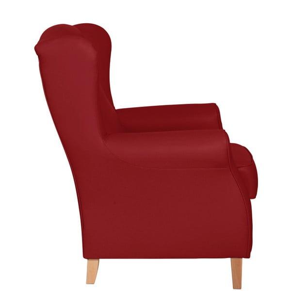 Červené křeslo ušák Max Winzer Lorris Leather Chili
