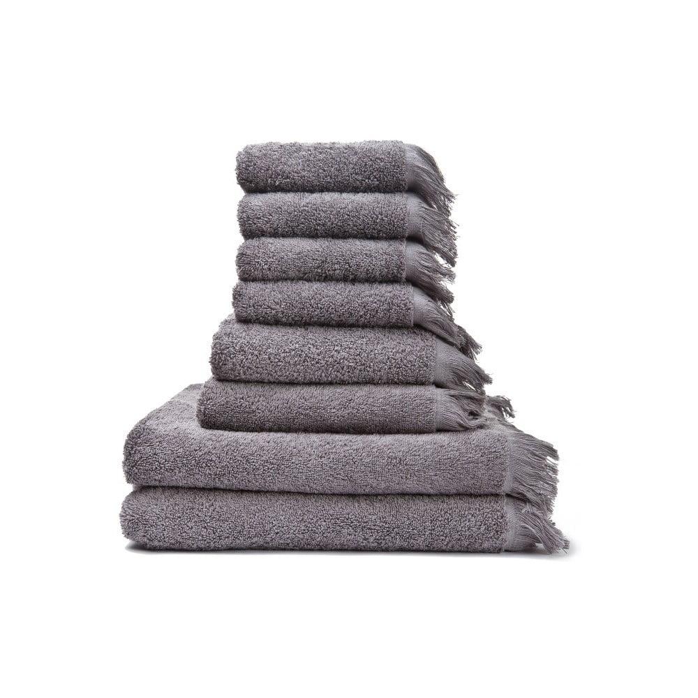 Set 4 šedých osušek a 4 ručníků z čisté bavlny Casa Di Bassi Basic