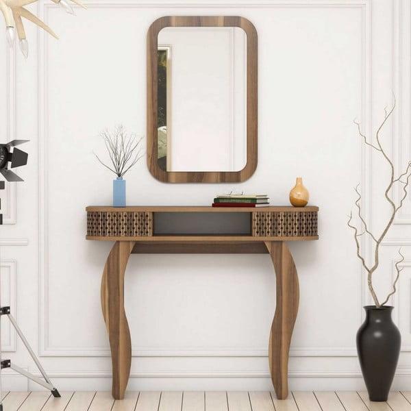 Tmavě hnědý toaletní stolek Damia