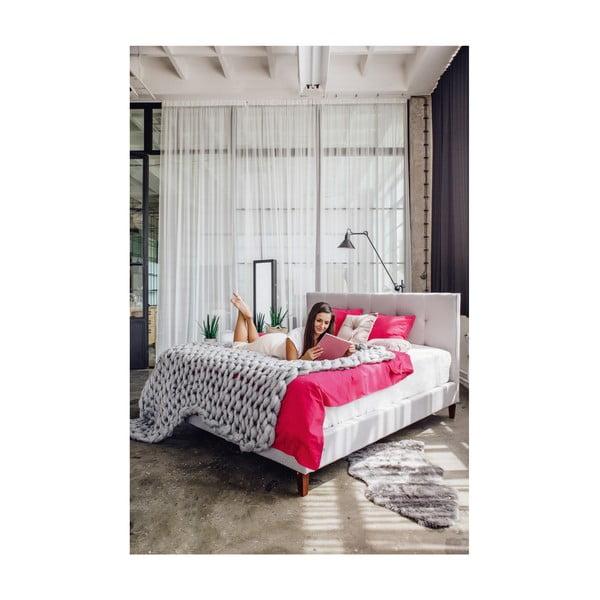 Světle šedá dvoulůžková postel Chez Ro Skagen,160x200cm