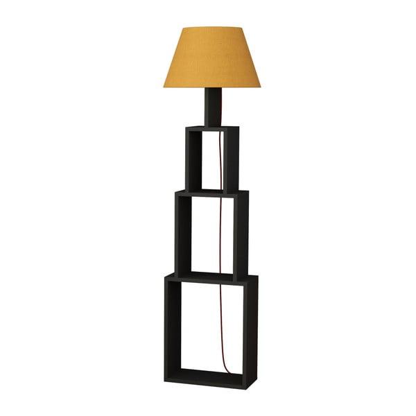 Lampadar cu abajur galben Homitis Tower, gri antracit