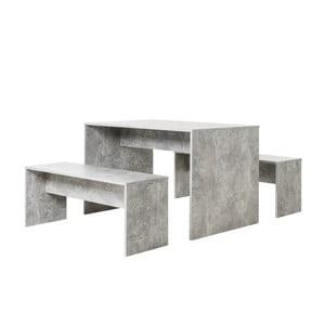 Set masă și 2 bănci cu aspect de beton Intertade Berlin