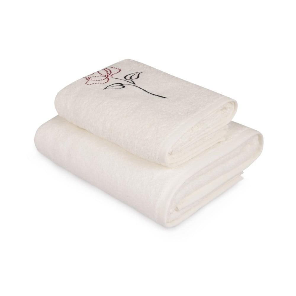 Set bílého ručníku a bílé osušky s barevným detailem Rose