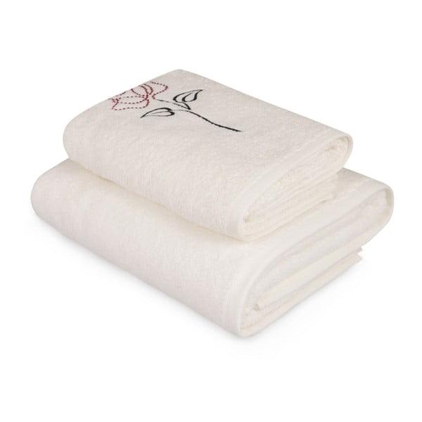 Rose fehér törölköző és fürdőlepedő szett színes elemmel