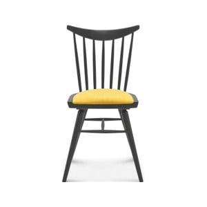 Dřevěná židle se žlutým polstrováním Fameg Anton