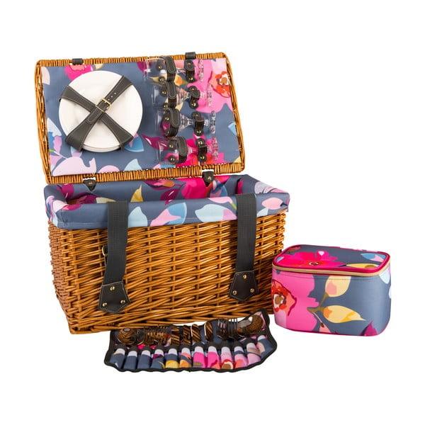 Basket fonott piknik kosár, felszereléssel 4 főre - Navigate