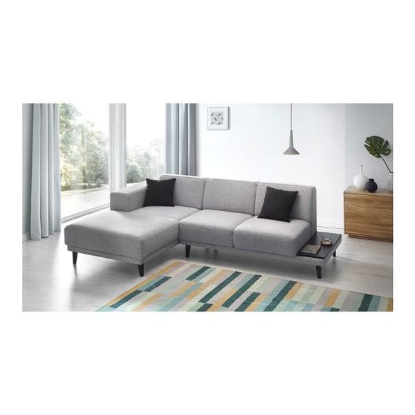 Canapea cu 3 locuri ți șezlong pe partea stângă Bobochic Paris Leo, gri