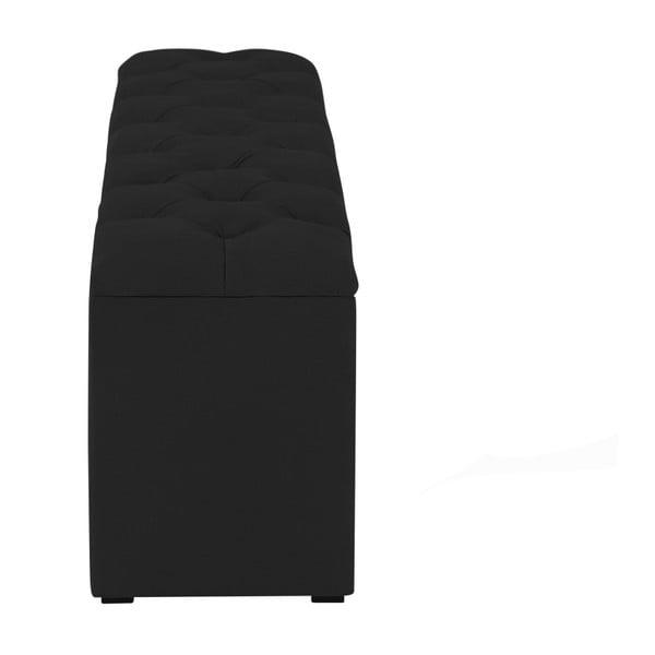 Černý otoman k posteli s úložným prostorem Kooko Home Manna, 47 x 160 cm