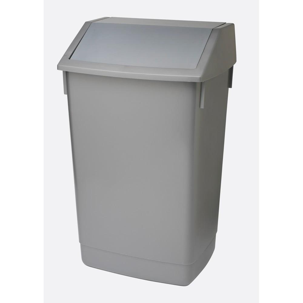 Šedý odpadkový koš s vyklápěcím víkem Addis, 41 x 33,5 x 68 cm