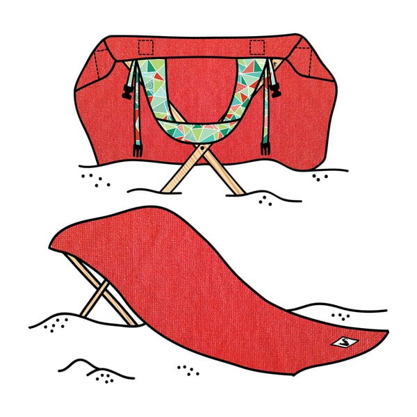 Skládací plážové lehátko a osuška v jednom Sun Seat Tomato