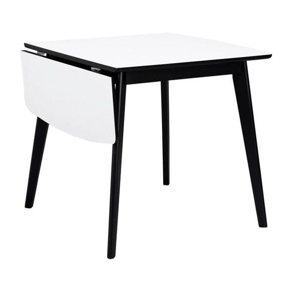 Černobílý jídelní stůl se sklápěcí deskou Rowico Olivia, délka 80+30cm