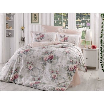 Lenjerie de pat și cearșaf din bumbac poplin Clementina Dusty Rose, 200 x 220 cm de la Hobby