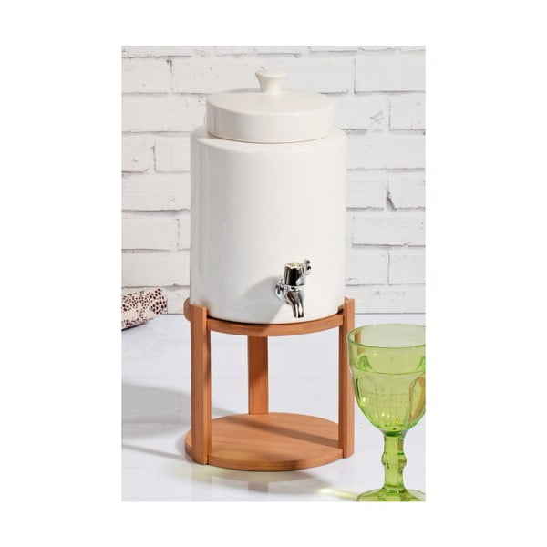Porcelánová nádoba na nápoj s bambusovým stojanem John