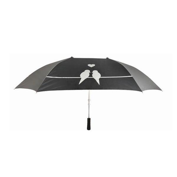 Čierny dáždnik pre dve osoby Esschert Design Love Birds, ⌀ 128 cm