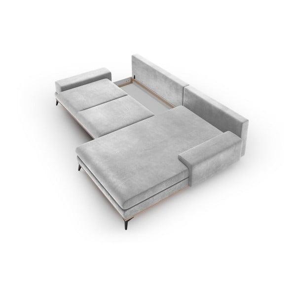 Canapea extensibilă cu înveliș de catifea Windsor & Co Sofas Astre, pe partea dreaptă, gri deschis