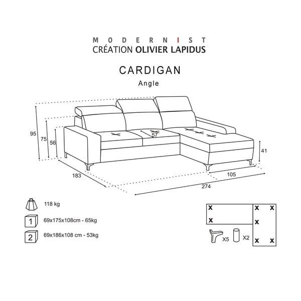 Antracitová pohovka Modernist Cardigan, levý roh