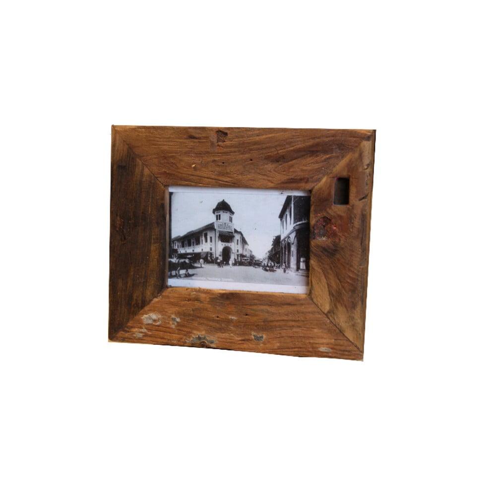 Rámeček na fotografie z teakového dřeva HSM Collection Antique, 27 x 22 cm