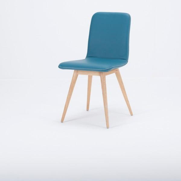 Krzesło z litego drewna dębowego z turkusowym skórzanym siedziskiem Gazzda Ena