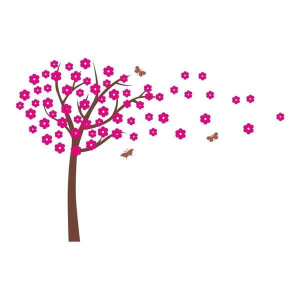 Růžová nástěnná samolepka Cherry Tree