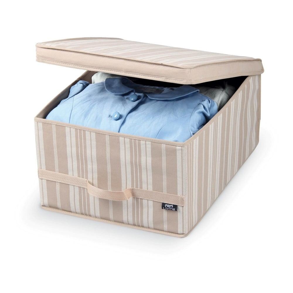 Béžový úložný box Domopak Stripes, délka 50 cm