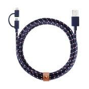 Tmavě modrý synchronizační a nabíjecí kabel lightning pro iPhone a Android Native Union Twinhead, délka 2 m