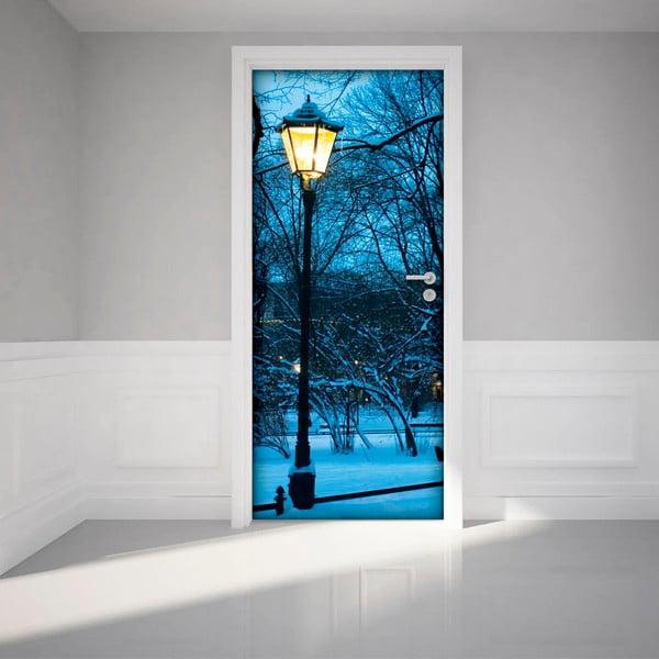 Adhezivní samolepka na dveře Ambiance Winter Street Lamp