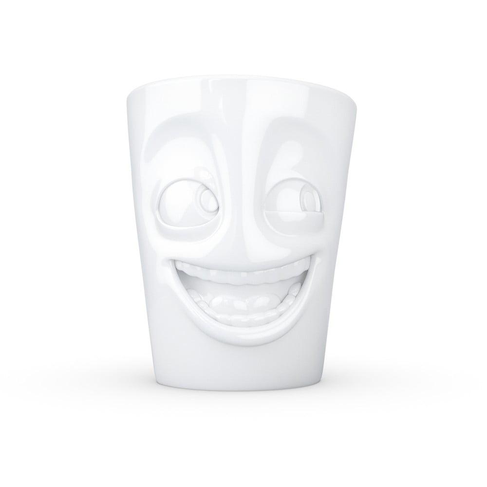 Bílý vysmátý porcelánový hrnek s ouškem 58products, objem 350 ml