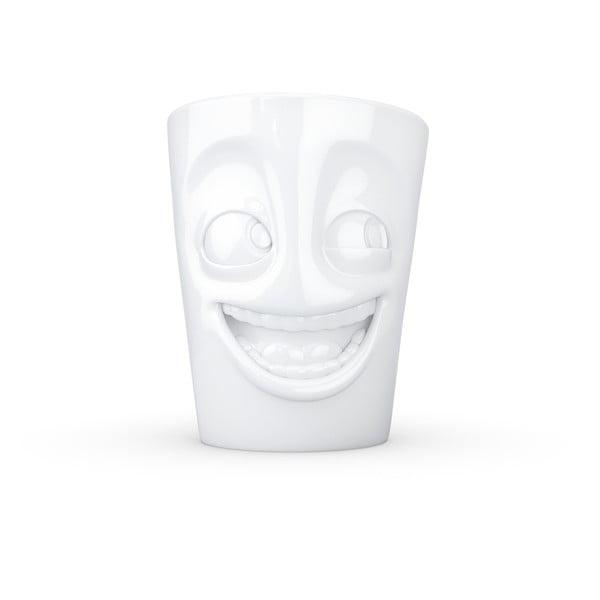 Biały uśmiechnięty porcelanowy kubek z uchem 58products, 350 ml