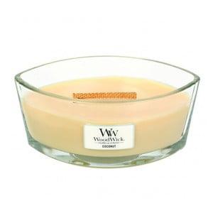 Lumânare parfumată WoodWick, aromă de vanilie și cocos, 80 ore