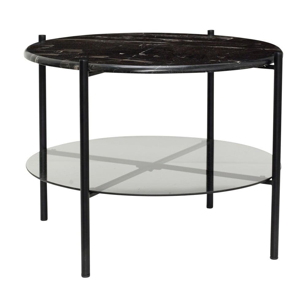 Černý konferenční stolek s mramorovou deskou Hübsch Halieo